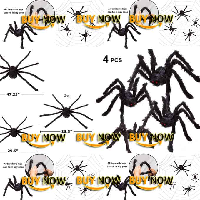 Four indoor Halloween Realistic Hairy Spiders decoration Set