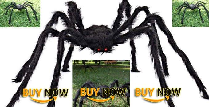 JOYIN 5 ft Huge Halloween Outdoor Decorations Hairy Spider (Black)