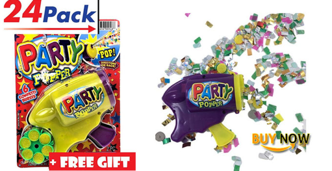 Party Confetti Gun Pack of 24 by JA-RU free gift