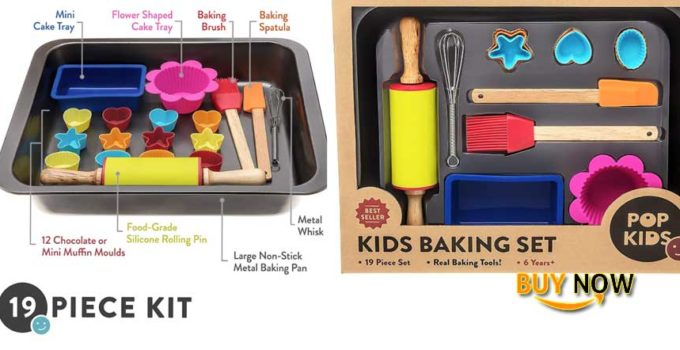 Pop Kids Baking Set for Family Fun Premium 19-Piece Kit for Children Learning to Bake