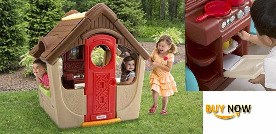 Simplay3 Garden View Cottage - Kids Playhouse with Chimney and Play Kitchen