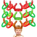 3 Pack Giant Inflatable Reindeer Antler Ring Toss Game Christmas Party Games Toys Stocking Stuffers Kids Adult Indoor Outdoor Family Christmas Party Supplies Favors Decor (3 Colors,15 Piece Set )