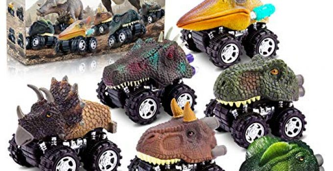 Dinosaur Toys for 3 Year Old Boys, Pull Back Dinosaur Toys for 5 Year Old Boy 6 Pack Set Car Toys for 4 Year Old Boys Christmas Birthday Gifts for Kids 3,4,5,6 Year Old Boys