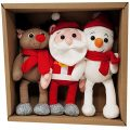 Plush Stocking Stuffers - Christmas Plush Toys Set Including Reindeer, Snowman and Stuffed Santa - 12x5'' Stuffed Christmas Toys - Kids Plush Toys for Girls, Boys and Toddlers