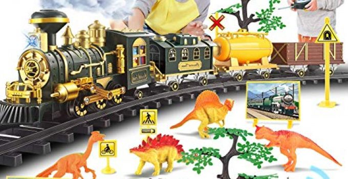 Chylldem 2020 New Electric Train Set with Remote Control, Smoke, LED Lights, Sound, Christmas Train Toy for Boys & Girls, Dinosaur Train Tracks Set, Dinosaur Toy, Gifts for Kids & Teens, 3+ Year Old