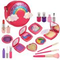 Esnowlee Makeup Kits for Girls 18PCS Kids Pretend Play Makeup Toy Set with Rainbow Bag for Little Girls Birthday Christmas Gifts