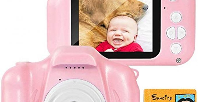 SUNCITY Girl Toys Gifts Kids Camera for 3 4 5 6 7 8 9 10 Years Old 2 Inch Screen 1080P Video Birthday Presents for Children Toddlers(32GB Memory Card Included, Pink)