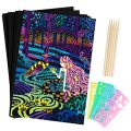 Scratch Rainbow Art Paper Set - 50Pcs Magic Scratch Off Art Craft Supplies Kits for Kids Girls Boys Black Scratch Notes Sheet Doodle Pad for Fun DIY Toy Party Favors Game Christmas Birthday Gift