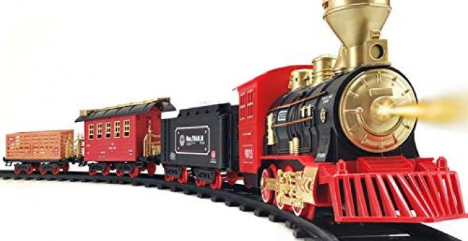 Train Set - 2020 Updated Electric Train Toy for Boys Girls w/ Smokes, Lights & Sound, Railway Kits w/ Steam Locomotive Engine, Cargo Cars & Tracks, for 3 4 5 6 7 8+ Year Old Kids