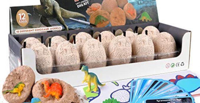 WITALENT Dinosaur Eggs Dig Kit Dinosaur party favors for Kids Dinosaur Toys for Boys & Girls 12 Dinosaur Egg Excavation Toys Archaeology Science STEM Gift for Birthday Christmas Dinosaur Kits for Kids