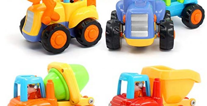 ORWINE Inertia Toy Early Educational Toddler Baby Toy Friction Powered Cars Push and Go Cars Tractor Bulldozer Dumper Cement Mixer Engineering Vehicles Toys for Children Boys Girls Kids Gift 4PCS