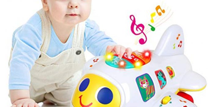 Baby Toys for 1 Year Old Boys Girls Electronic Airplane Toys Kids Baby Early Education Toys Christmas Birthday Gifts for 1 2 3 4 Year Old Toddler Children Boy Girl Sound Light Effect Music Travel Toys