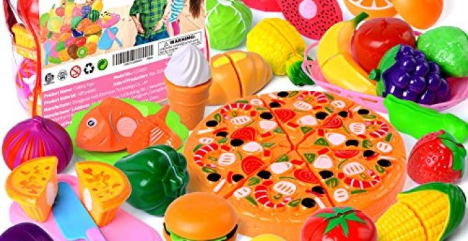 Cutting Toys, 73 PCS Play Cutting Food Kitchen Toy Cutting Fruits Vegetables Pretend Food Playset Early Development Learning Toy Gifts for Christmas for Toddlers Kids Boys Girls with Storage Bag