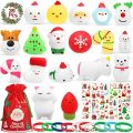 Hicdaw 39Pcs Christmas Squishy Toys Squeezable Stress Relief Toys Sensory Toys Bulk with Squishy Toys Christmas Bracelets Stickers and Gift Storage Bag for Kids Party Decoration