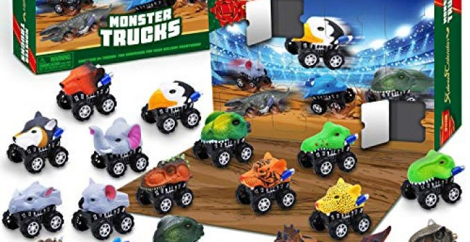 JOYIN 2020 Advent Calendar Kids Christmas 24 Days Countdown Calendar Toys for Kids with Monster Truck Toys Set
