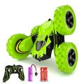 Seckton RC Stunt Car Toys Remote Control Car for 6-12 Year Old Boys RC Cars 360 Degree Flips Double Sided Rotating 4WD 2.4Ghz Christmas Birthday Gifts for Kids Green