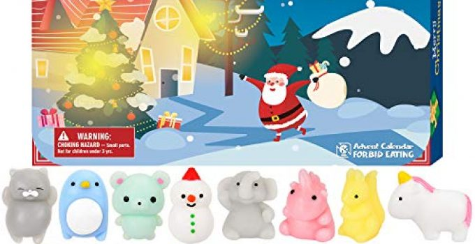 BATTOP Advent Calendar 2020 Christmas Countdown Calendar Toy 24Pcs Different Cute Mochi Animals Squishy Toys for Kids