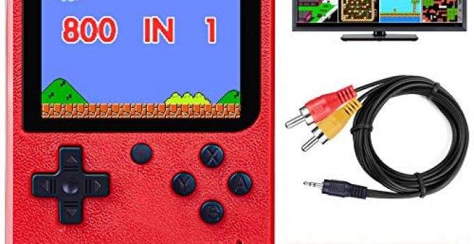 """DELAM Handheld Game Console for Kids Adults, Retro Game Player w/ 800 Classic FC Games 3.0"""" Color Screen 1020mAh Rechargeable Battery, Support TV Connection & Two Player, Gift Toys for Boys Girls"""