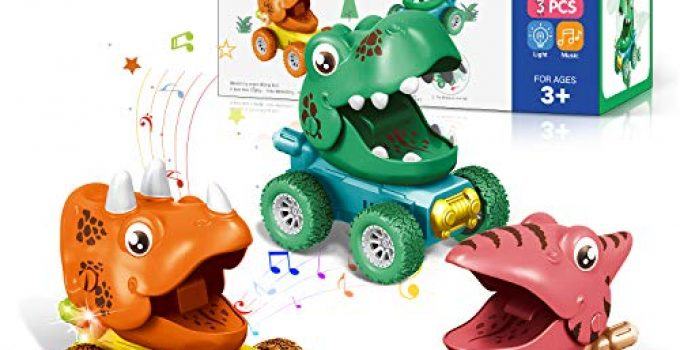 Dinosaur Toys for 2-5 Year Old Boys Birthday for 3,4 Year Old Boys and Girls 3 Pack Set Dinosaur Car 4 Year Old Boys Toys