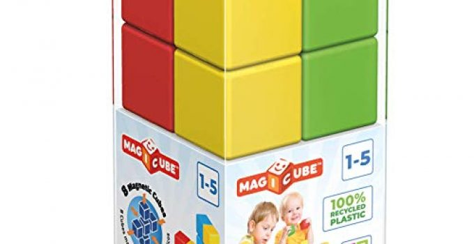 GEOMAG Magicube 54 Green | Magnetic Toys | Toddler Magnets | STEM-endorsed Educational Building Cube Set for Creativity and Early Learning Fun | Swiss-Made | 8 Pieces |Ages 1-5