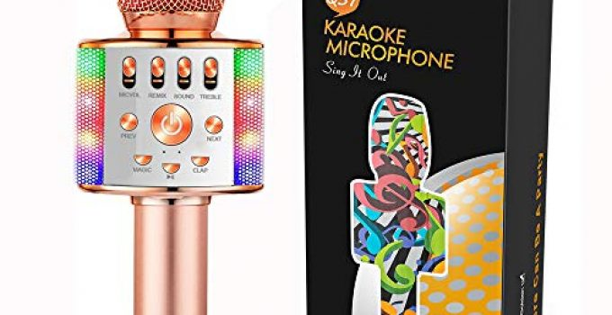 Gifts for 6 7 8 9 10 Years Old Girls Boys Toys Kids Karaoke Microphone Bluetooth Wireless Christmas Party Birthday Girls Gifts Age 6 7 8 9 10(Rose Gold)