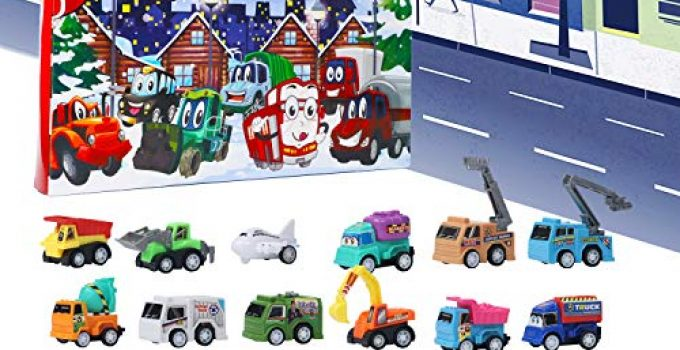 Juegoal Cars Advent Calendar 2020 for Kids, Stocking Stuffer Toy Cars with 24 Different Pull Back Vehicles Including Construction Vehicles, Race Cars, Perfect for Boys and Girls