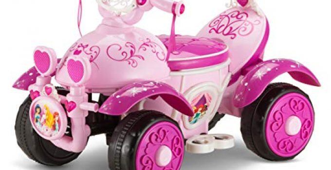 Kid Trax Toddler Disney Princess Electric Quad Ride On Toy, Kids 1.5-3 Years Old, 6 Volt Battery and Charger Included, Max Weight 45 lbs, Princess Pink