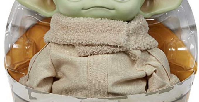 Mattel Star Wars The Child Plush Toy, 11-Inch Small Yoda-Like Soft Figure from The Mandalorian, Green