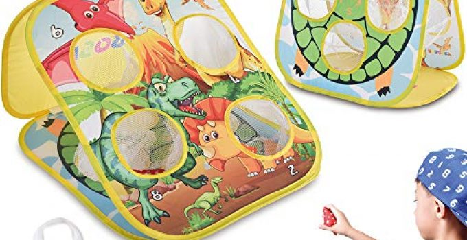 RaboSky Bean Bag Toss Game Toy for Toddlers Ages 3 4 5 Year Old, Gift for Boys Birthday or Christmas, Collapsible Double Sided Outdoor Cornhole Board for Kids, Dinosaur & Turtle Themed, 6 Beanbags