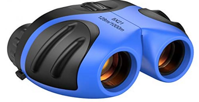 Toys for 3-12 Year Old Boys, Binoculars for Kids, 8x21 Compact Binocular for Theater Outdoor Camping Easter Gifts for 4-10 Years Old Boy Blue Small Binoculars Beach Toys Stocking Stuffer TG02